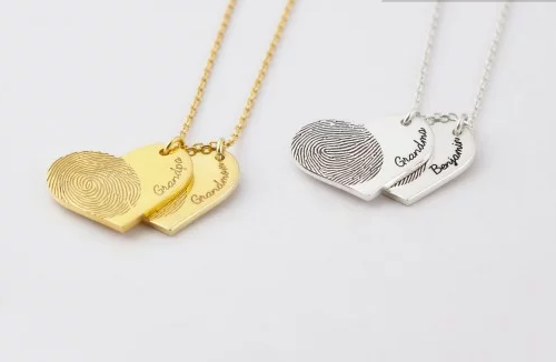 Double Heart Fingerprint Memorial Necklace