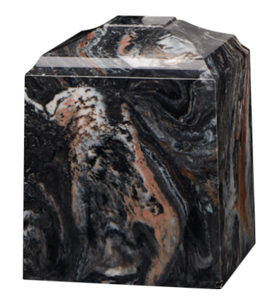 Mission Black Cultured Marble Cremation Urn