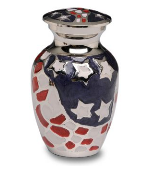 Patriotic Red, White & Blue American Flag Cremation Urn