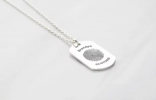 Fingerprint Dog Tag Necklace