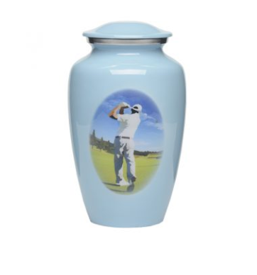 Blue Alloy Golf Urn