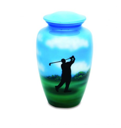 Handpainted Golf Urn
