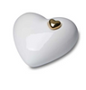 White Porcelain Heart Cremation Urn