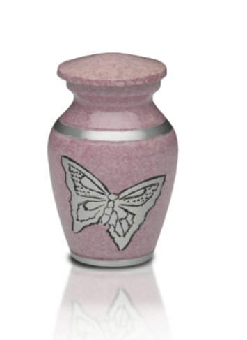 Pink Butterfly Keepsake Cremation Urn