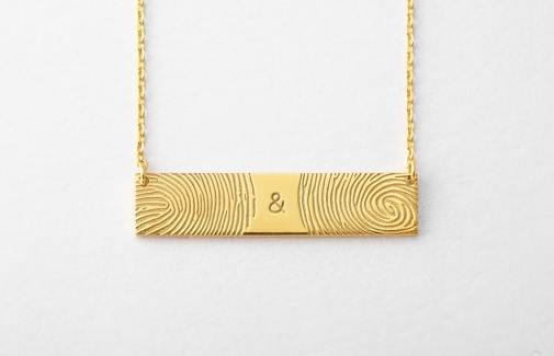 Double Fingerprint Bar Necklace