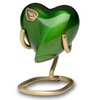 Vibrant Green Heart Keepsake Urn