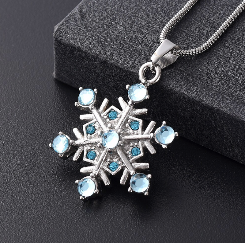 Crystal Snowflake Cremation Urn Necklace
