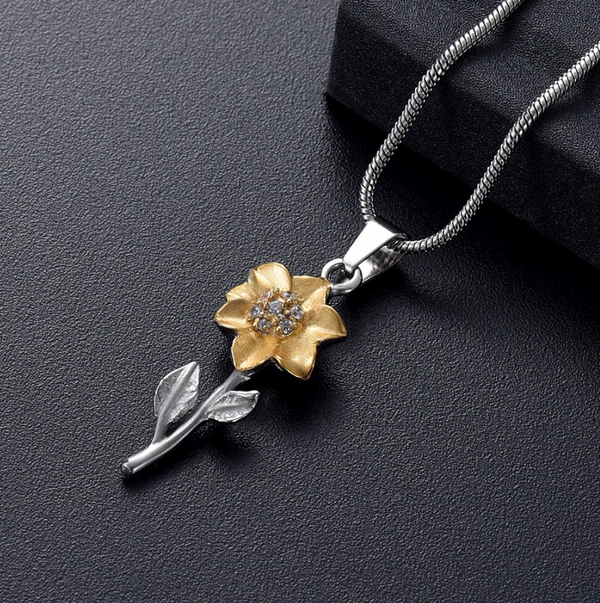 Golden Sunflower Cremation Urn Necklace