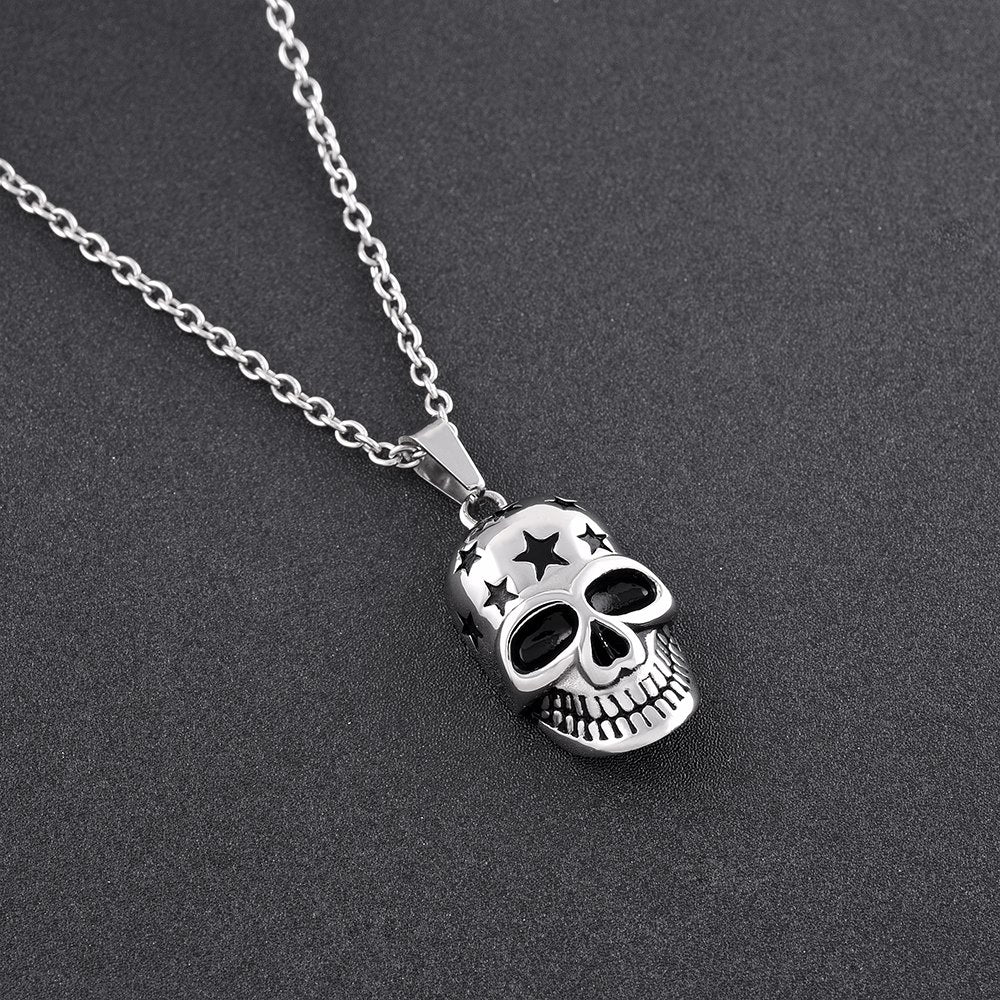 Stars and Skull Cremation Necklace