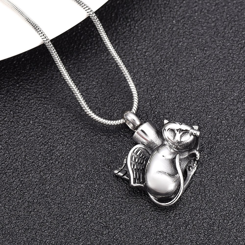 Sleeping Angel Cat Cremation Necklace