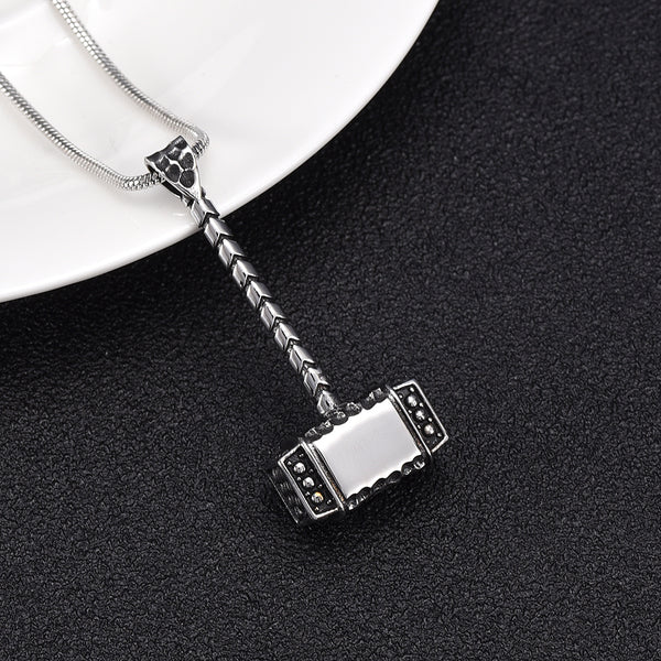 Thor's Hammer Cremation Urn Necklace