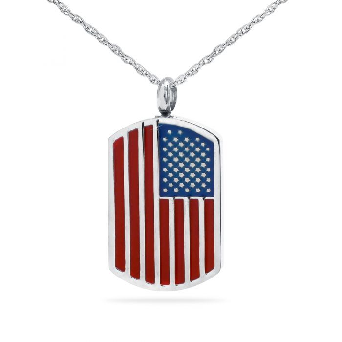 American Flag Dog Tag Stainless Steel Cremation Necklace