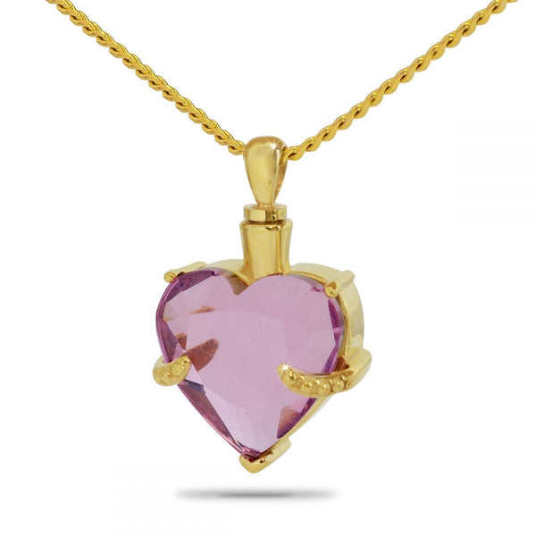 Light Purple Heart Gold Cremation Necklace