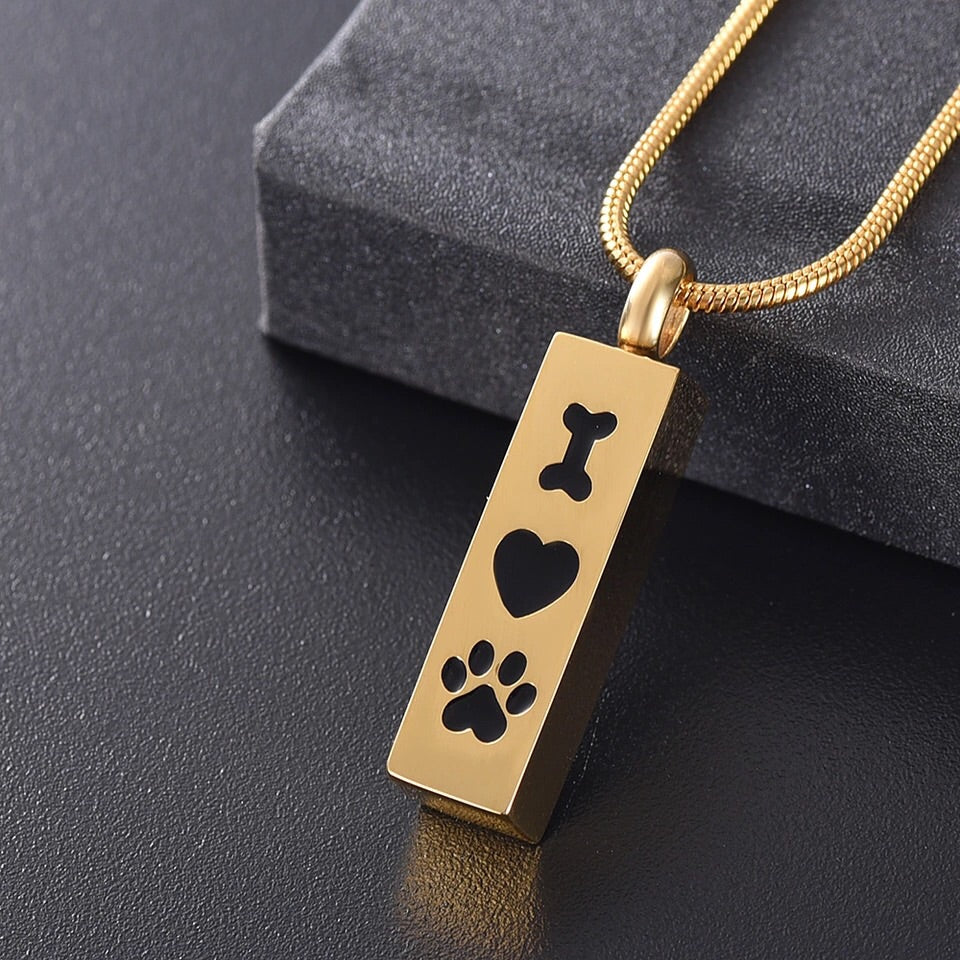 Bone Heart Paw Dog Cremation Necklace