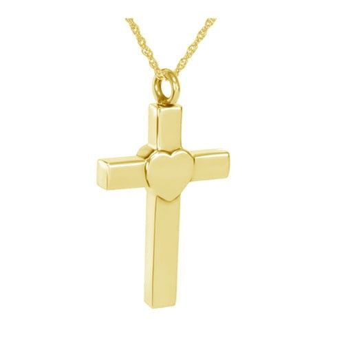 Heart on a Cross 14K Gold Cremation Pendant
