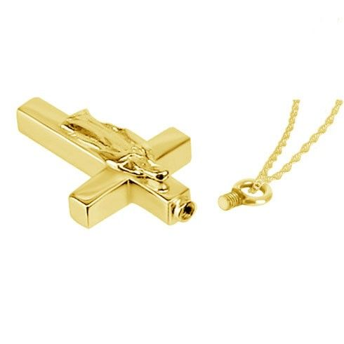 Mother Mary 14K Gold Cross Cremation Pendant