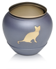 Matte Grey Brass Cat Cremation Urn