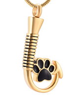 Paw Print Fish Hook Urn Necklace