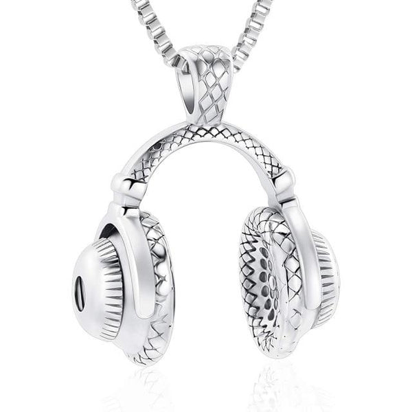 Headphone Cremation Urn Necklace