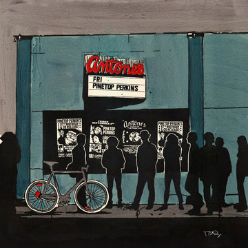 A screen print of Antone's Music venue by Michelle SaintOnge.