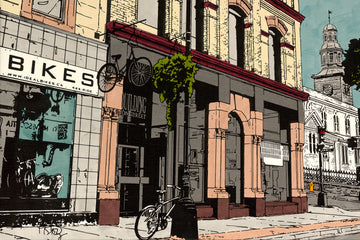 A screenprint illustration of the corners of Barrington St and Prince St Halifax, Nova Scotia.