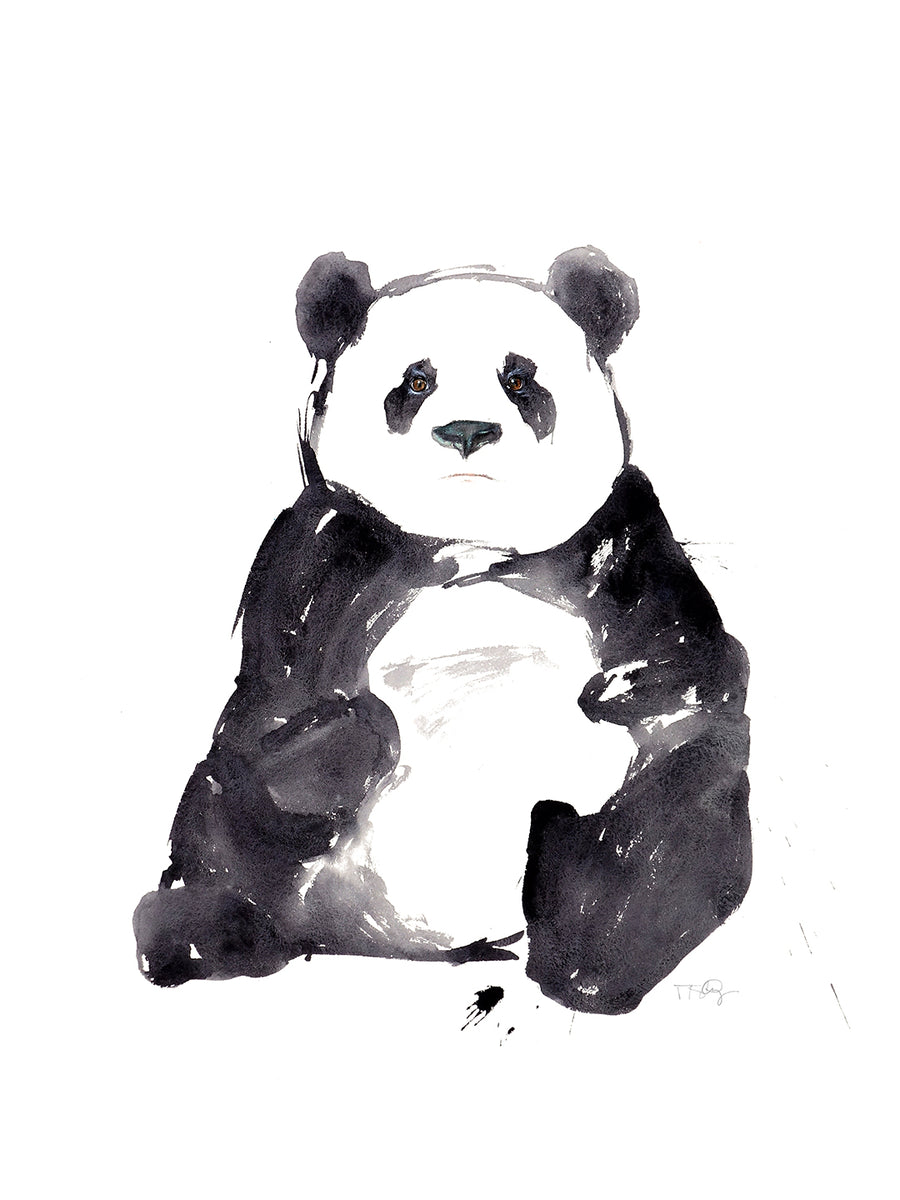 Large watercolour black and white panda by artist Michelle SaintOnge.