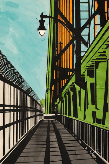 A screen print of The MacDonald Bridge in Halifax Nova Scotia by artist Michelle SaintOnge.