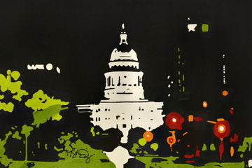 The Capitol building in Austin Texas at night. A screen print by artist Michelle SaintOnge
