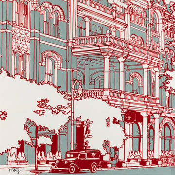 Graphic screen print of famed Driskill Hotel which may or may not be haunted.