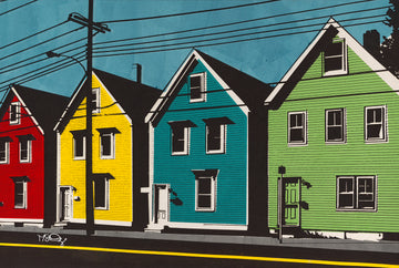 A screen print of colorful historic saltbox homes in Halifax, Nova Scotia by artist Michelle SaintOnge.