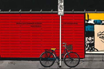 A screen print by Michelle Saintonge of a colourful street with a bike and graffiti.