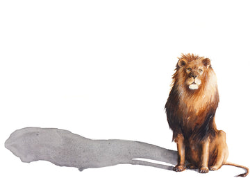 The majestic lion with his long shadow painted in watercolour by Michelle SaintOnge.