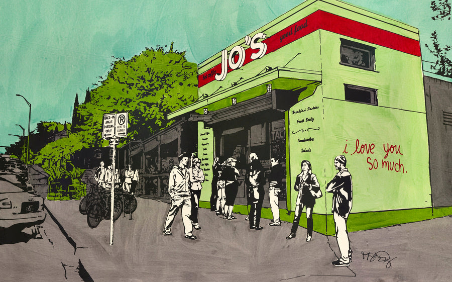 A screenprint of Jo's coffee on South Congress Ave by Michelle SaintOnge.