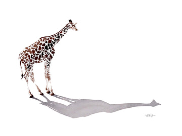 Elegant giraffe with it's long shadow painted in watercolour by artist Michelle SaintOnge.