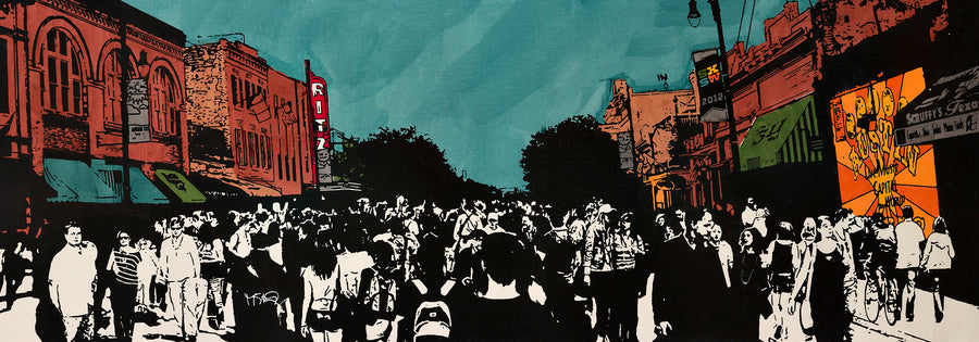A graphic screen print of 6th St in Austin during the pandemonium of SXSW by artist Michelle SaintOnge.