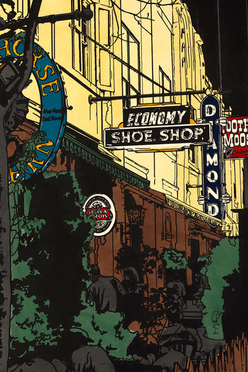 The Shoe Shop on Argyle St. A screen print by artist Michelle SaintOnge.