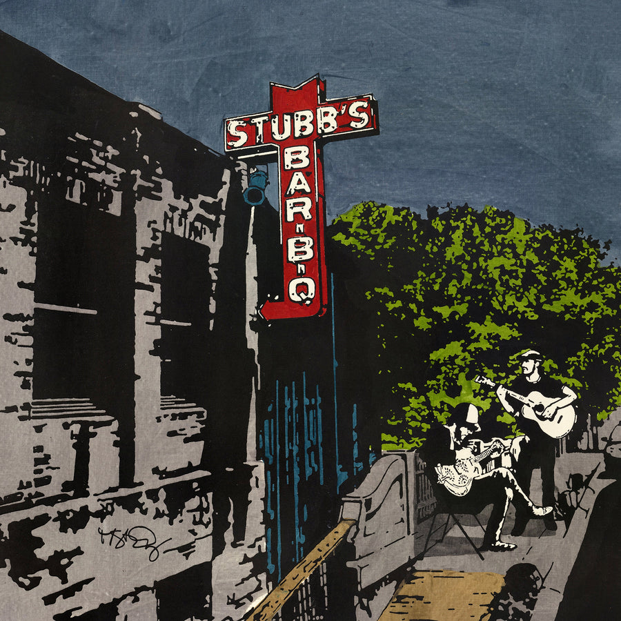 A screenprint of two guitar players outside Stubb's bbq; a famed Austin music venue.