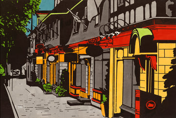 A screen print of the Hydrostone Market in Historic Halifax by artist Michelle SaintOnge.