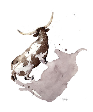 Watercolor painting  of a stoic Texas longhorn with his shadow by artist Michelle SaintOnge.
