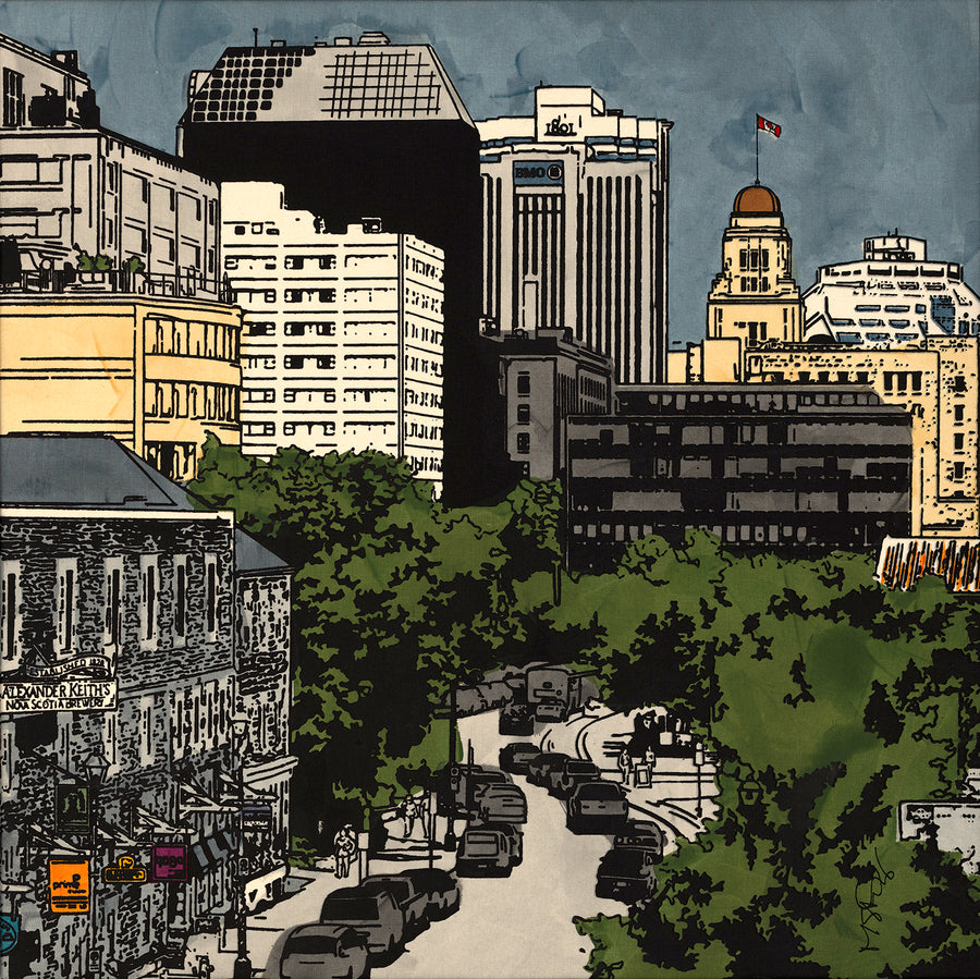 A screen print of Historic Halifax by artist Michelle Saintonge.