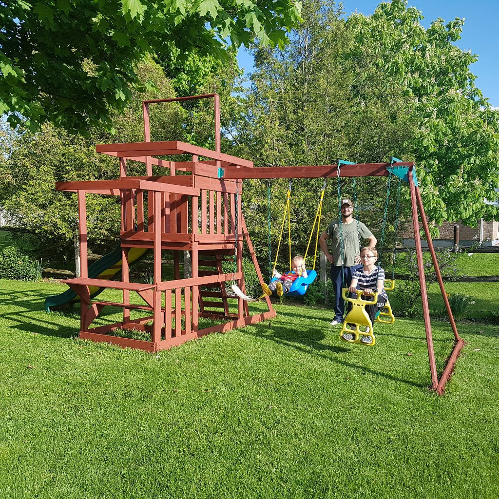 Refinishing a wooden play structure