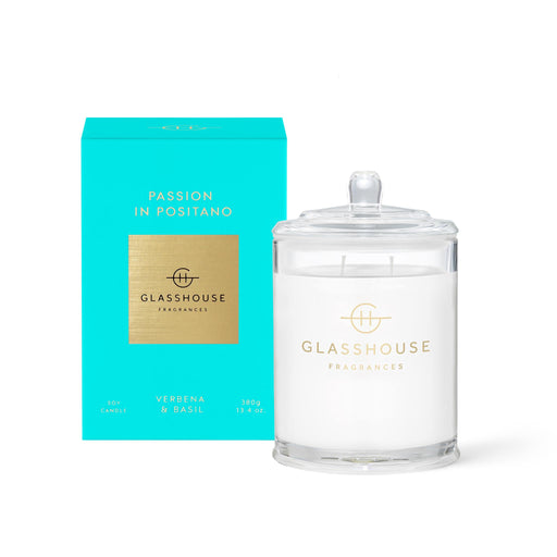 GLASSHOUSE FRAGRANCES 380G SOY CANDLE - PASSION IN POSITANO