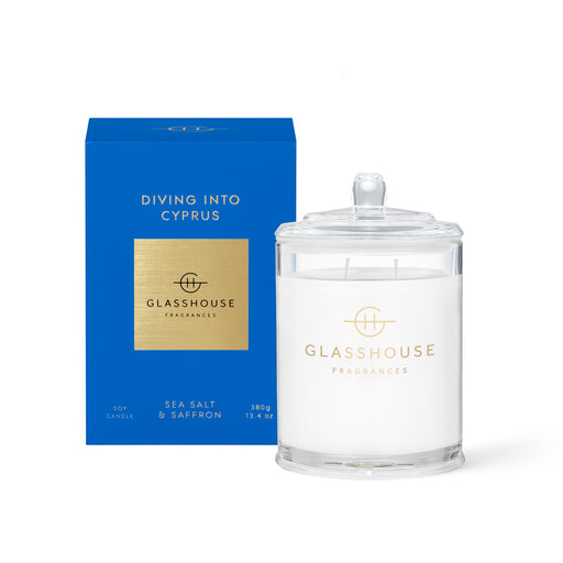 GLASSHOUSE FRAGRANCES 380G SOY CANDLE - DIVING INTO CYPRUS