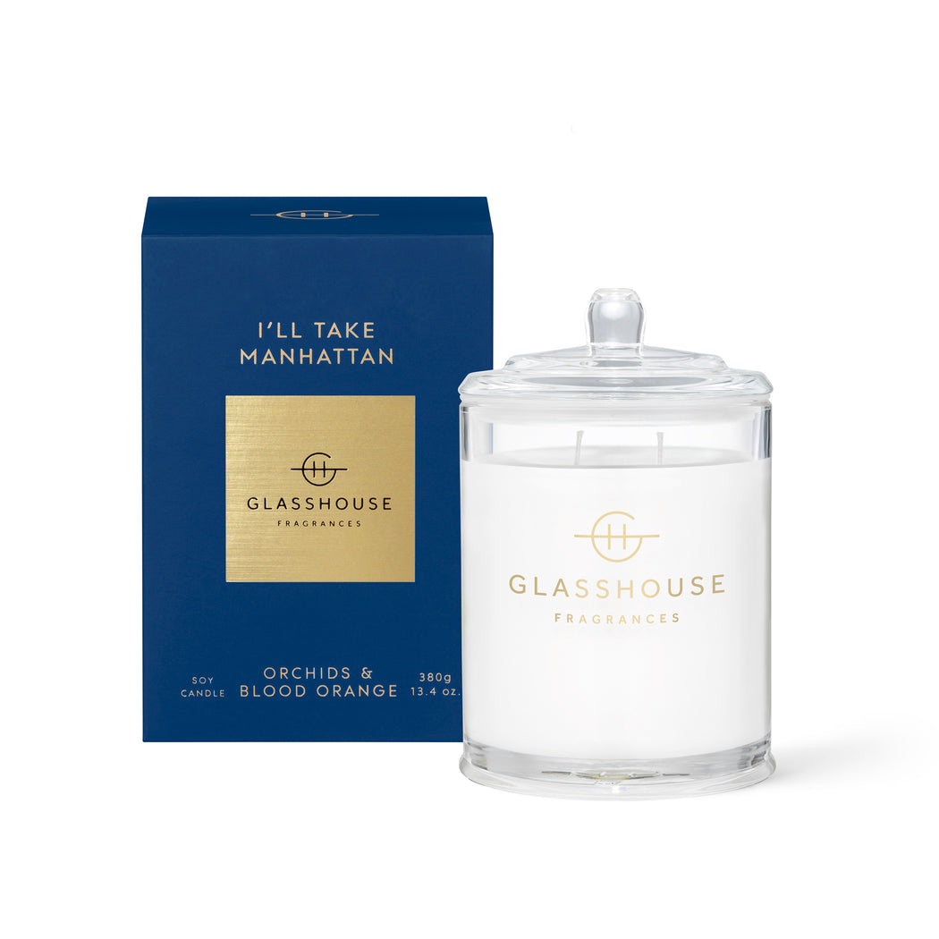 GLASSHOUSE FRAGRANCES 380G SOY CANDLE - I'LL TAKE MANHATTAN