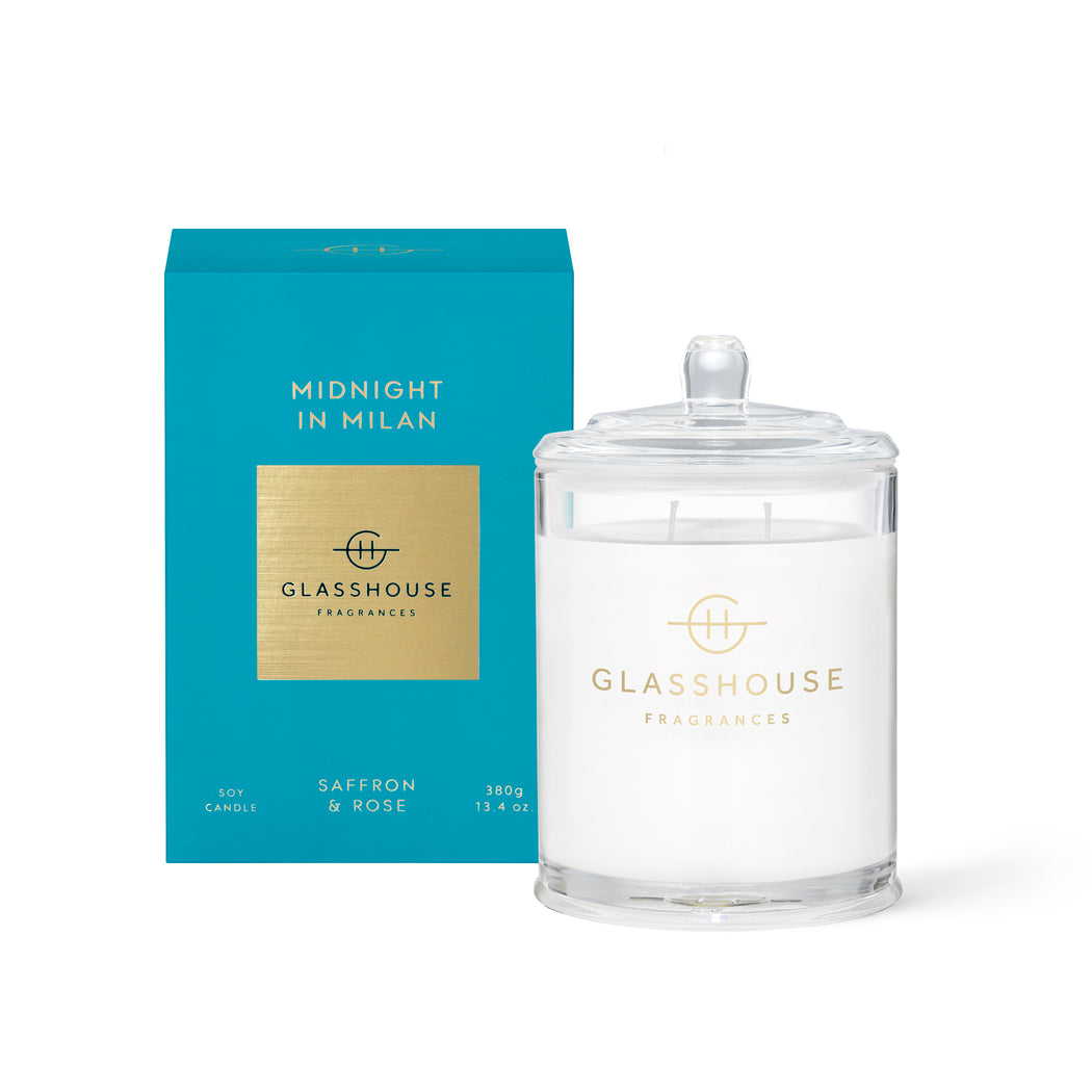 GLASSHOUSE FRAGRANCES 380G SOY CANDLE - MIDNIGHT IN MILAN