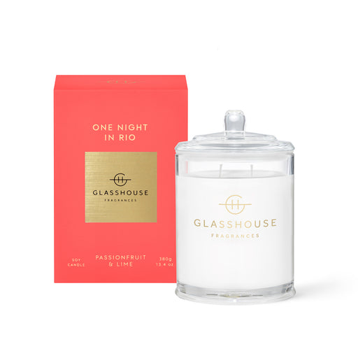 GLASSHOUSE FRAGRANCES 380G SOY CANDLE - ONE NIGHT IN RIO