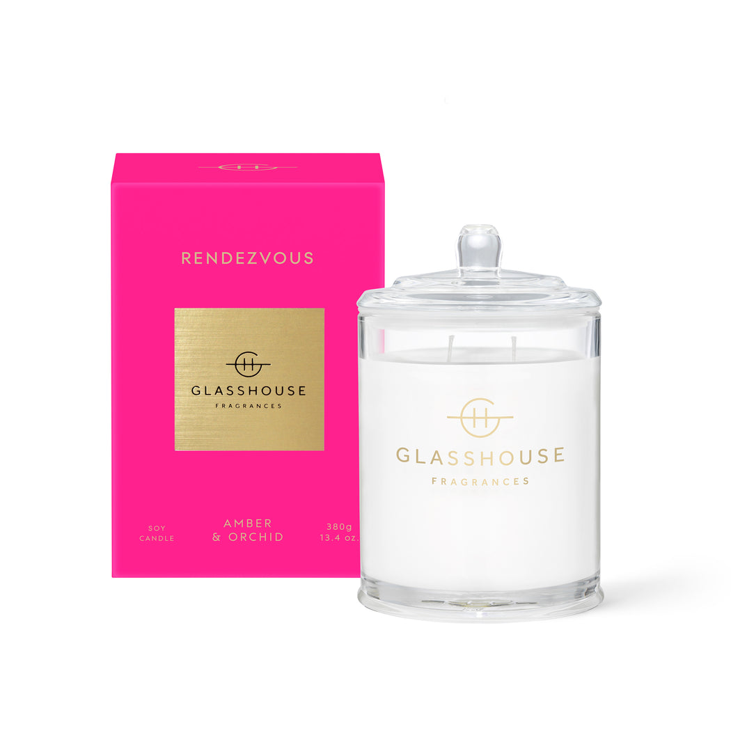GLASSHOUSE FRAGRANCES 380G SOY CANDLE - RENDEZVOUS