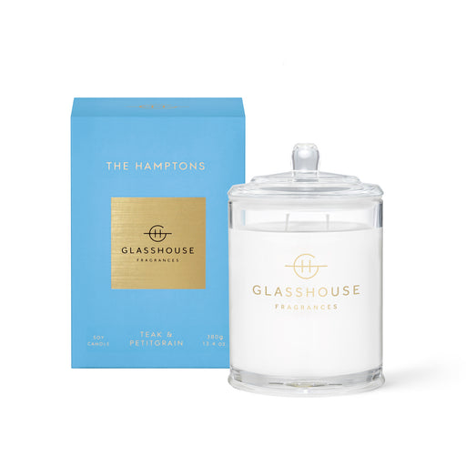 GLASSHOUSE FRAGRANCES 380G SOY CANDLE - THE HAMPTONS