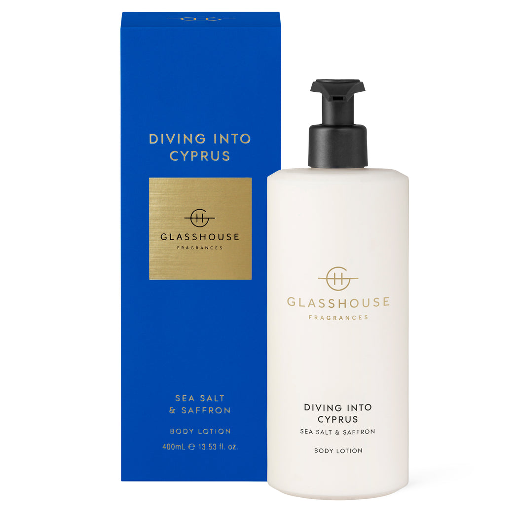 GLASSHOUSE FRAGRANCES 400ML BODY LOTION - DIVING INTO CYPRUS