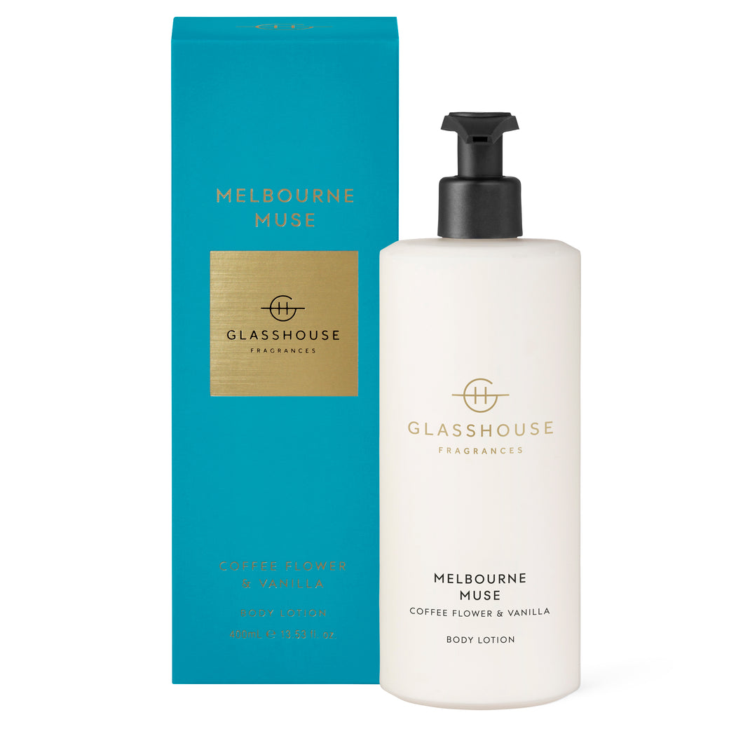 GLASSHOUSE FRAGRANCES 400ML BODY LOTION - MELBOURNE MUSE